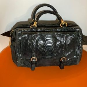 Talbots snake patterned leather satchel